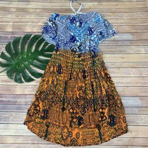Raga blue and orange ikat print midi halter dress